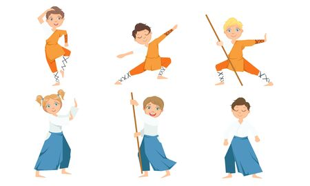 Cute Boy and Girls Doing Jiu Jitsu and Aikido in Uniform, Children Practicing Martial Arts Vector Illustration