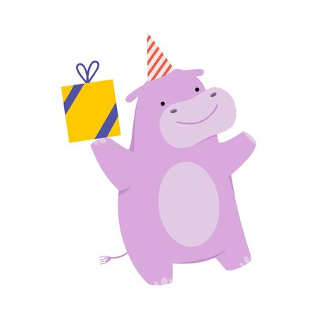 Cartoon hippo with a gift. Vector illustration on a white background.  イラスト・ベクター素材