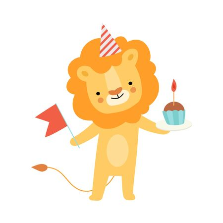 Humanized lion holds a red flag and a cupcake with a candle. Vector illustration on a white background.