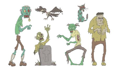 Walking Decaying Zombies Set, Undead People and Animals, Zombie Apocalypse Vector Illustration
