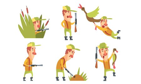 Collection of Funny Hunter Character with Gun in Different Situations Cartoon Vector Illustration