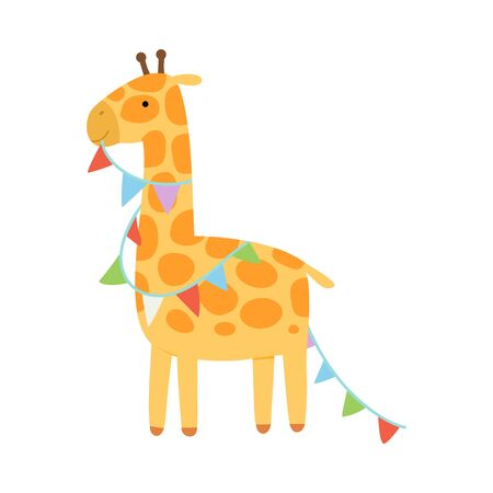 Giraffe with a garland of flags. Vector illustration on a white background.