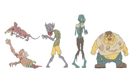 Conjunto de zombis en descomposición, personas y animales no muertos, ilustración de Vector de apocalipsis Zombie