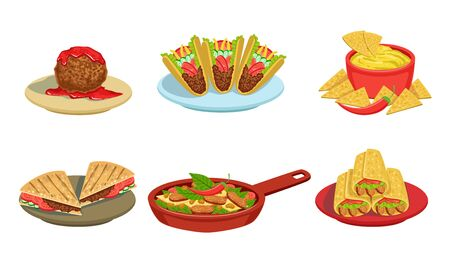 Collection of Delicious Mexican Cuisine Food Dishes, Burrito, Tacos, Nachos, Braised Beans, Meatball Vector Illustration on White Background.