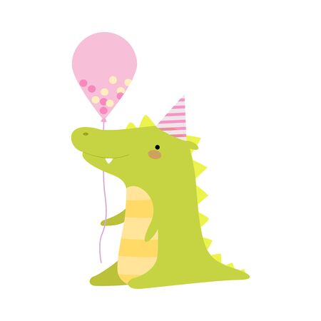 Crocodile with a balloon. Vector illustration on a white background.