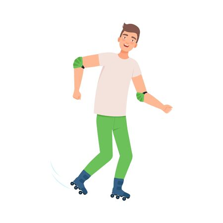 Man in green pants and a white T-shirt is rollerblading. Vector illustration.
