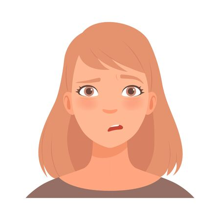 Perplexity on the face of a young woman. Vector illustration.