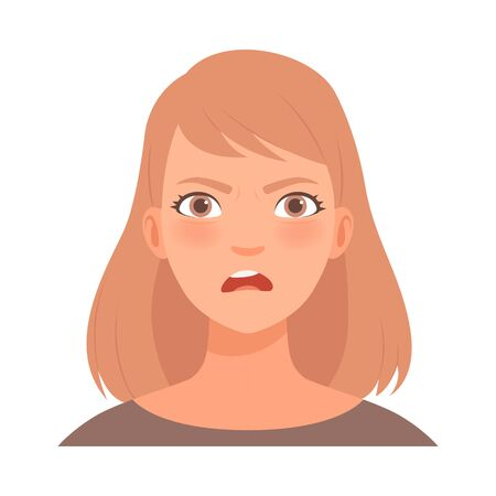 Anger on the face of a young woman. Vector illustration.