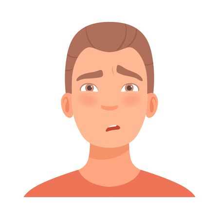 Emotion of doubt on the face of a young brunette guy. Vector illustration. 일러스트