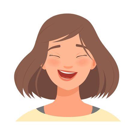 Emozione di risate sul volto di una donna bruna. Illustrazione vettoriale.