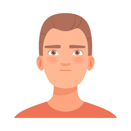 Emotion of determination on the face of a young brunet guy. Vector illustration.