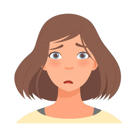 Emotion of surprise on the face of a brunette woman. Vector illustration.