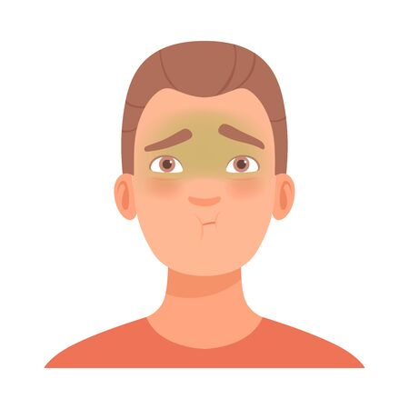 Emotion of embarrassment on the face of a young brunet guy. Vector illustration.