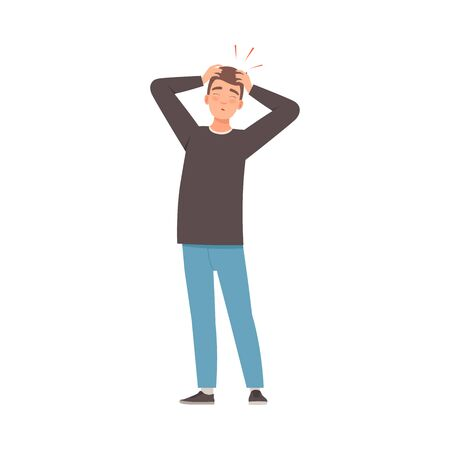 Man in a black sweater and jeans is holding on to his sore head. Vector illustration.