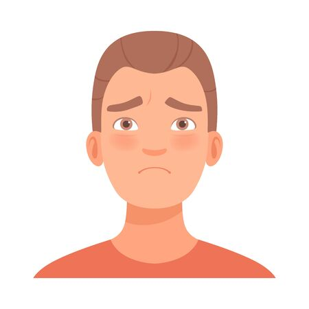 Emotion of sadness on the face of a young guy brint. Vector illustration.