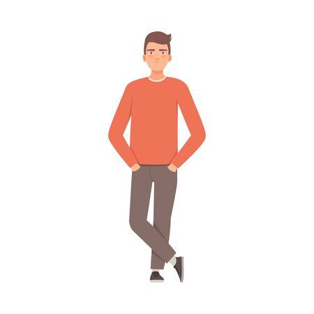 Young guy in a red sweater and gray pants shows his indifference by folding his legs and hiding his hands in his pockets. Vector illustration.