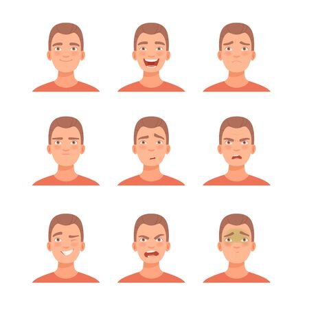 Set of emotions on the face of a young guy. Vector illustration in cartoon style.