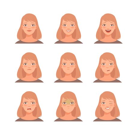 Set of emotions on the face of a blonde woman. Vector illustration. Illustration