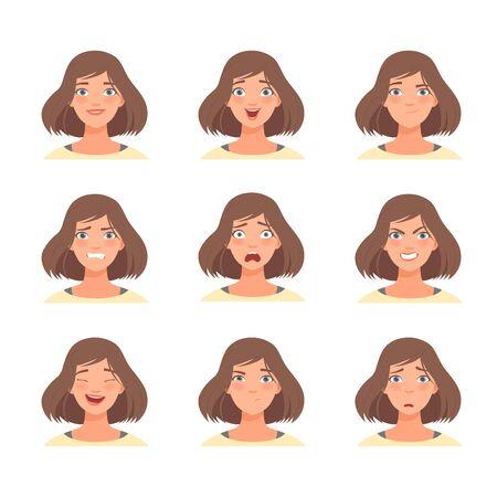 Satz von Emotionen im Gesicht einer brünetten Frau. Vektor-Illustration.