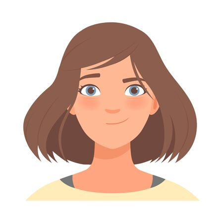 Emotion of determination on the face of a brunette woman. Vector illustration. Ilustração