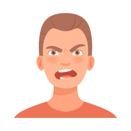 Emotion of intense anger on the face of a young brunet guy. Vector illustration.