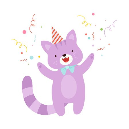Cute humanized purple cat in a birthday cap with a blue bow tie. Vector illustration on a white background. 스톡 콘텐츠 - 130796995