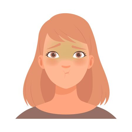 Emotion of intense embarrassment on the face of a young blonde woman. Vector illustration. Illustration