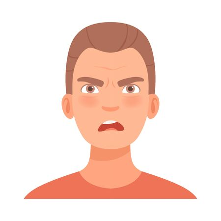 Emotion of anger on the face of a young brunet guy. Vector illustration.