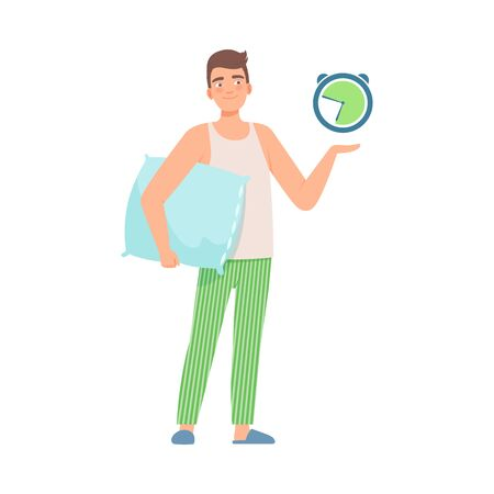 Man in green pants and a white shirt in a pillow points to his watch. Correct daily routine. Vector illustration.