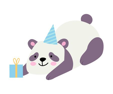 Cute panda lies next to a blue gift. Vector illustration on a white background.