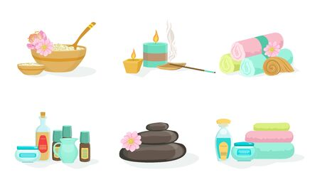 Set of tools for spa treatments. Vector illustration.  イラスト・ベクター素材