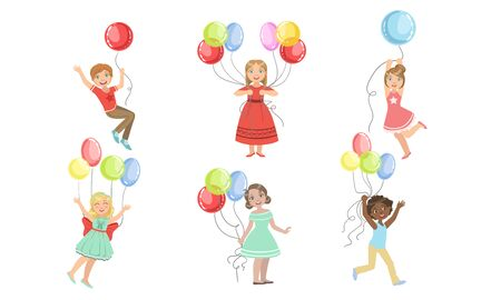 Set of images boys and girls with balloons. Vector illustration.