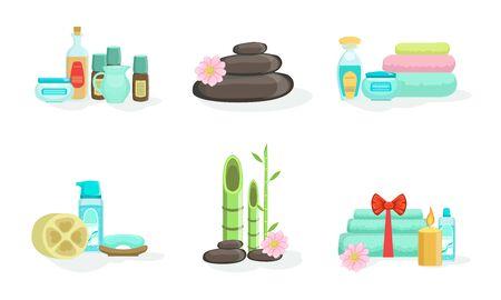 Set of various spa treatments. Vector illustration.