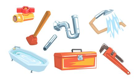 Set of satinics and tools. Bath, shower, pipe, plunger, adjustable spanner Vector illustration