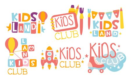Kids Land Club icon Set, Playiground, Childrens Centre Colorful Labels Vector Illustration