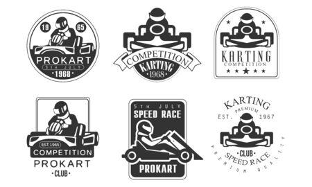 Kart-Wettbewerb Retro-Etiketten-Set, Mechaniker-Station, Procart Racing Club Monochrome Abzeichen Vektor-Illustration
