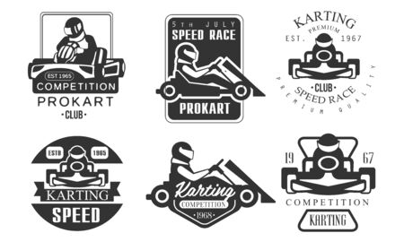 Karting Competition Premium Retro Labels Set, Mechanic Station, Procart Racing Club Monochrome Badges Vector Illustration Фото со стока - 131506801