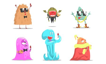 Cute humanized monsters are resting. Vector illustration.