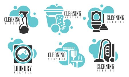 Cleaning Services Set, Professional Cleaning Company Labels with Housekeeping Tools and Products Vector Illustration