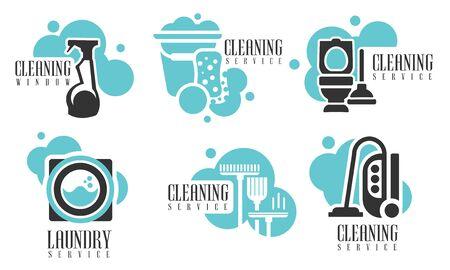 Conjunto de servicios de limpieza, etiquetas de empresa de limpieza profesional con herramientas de limpieza y productos ilustración vectorial