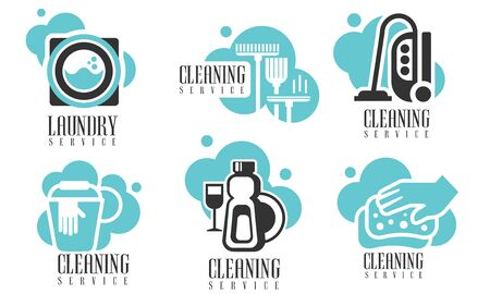 Cleaning and Laundry Services Set, Professional Cleaning Company Labels with Housekeeping Tools and Products Vector Illustration