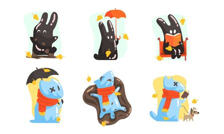 Unusual characters in the form of a dog made of water and a hare of mud. Vector illustration. Illustration