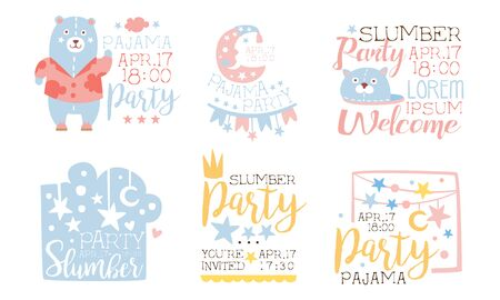 Pajama Party Invitation Card Templates Set, Welcome to Slumber Party Labels Vector Illustration