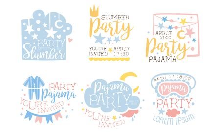 Pajama Party Invitation Card Templates Set, Slumber Party, You Are Invited Vector Illustration