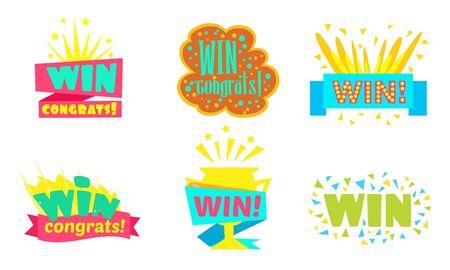 Win, Congrats, Colorful Congratulation Labels or Stickers Vector Illustration