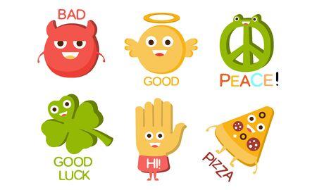 Wörter und süße Zeichentrickfiguren mit lustigen Gesichtern, schlecht, gut, Frieden, Glück, Hallo, Pizza-Vektor-Illustration