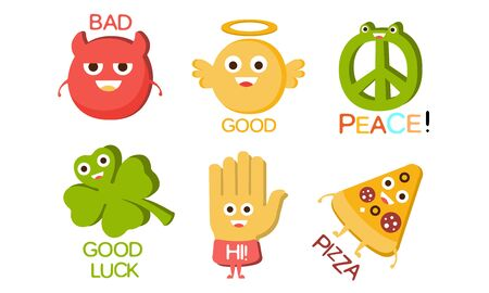 Words and Cute Cartoon Characters with Funny Faces, Bad, Good, Peace, Luck, Hi, Pizza Vector Illustration