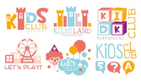 Kids Land Playground Set, Childrens Club Colorful Labels Vector Illustration Standard-Bild - 131506538