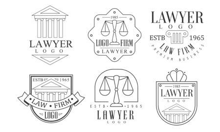 Lawyer Retro Set, Law Firm Premium Business Labels Vector Illustration