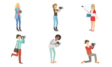 Photographers modern young men and women Set of vector illustrations.